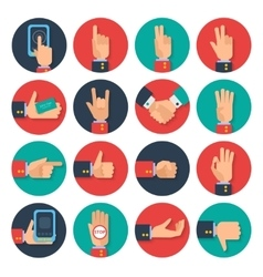 Hands icons set flat vector