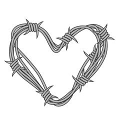 Heart in barbed wire vector