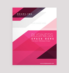 Pink geometric brochure flyer business annual vector
