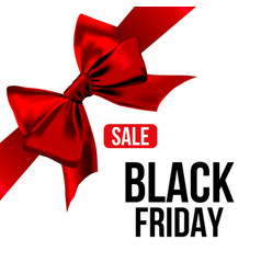 Red bow with ribbon and black friday sale text vector