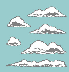 set of cloud elements vector image vector image