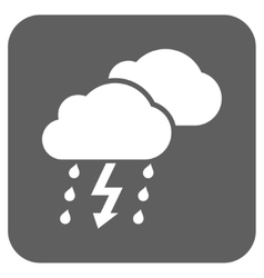 Thunderstorm clouds flat squared icon vector