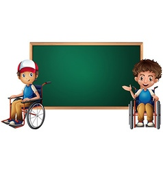 Two boys on wheelchairs by the board vector image vector image
