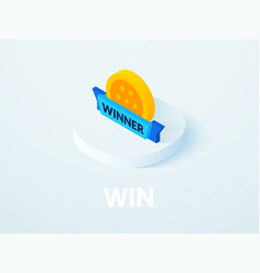 Win isometric icon isolated on color background vector