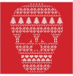 winter pattern sugar skull on red background vector image