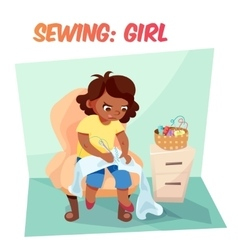 Funny african american girl sewing vector image
