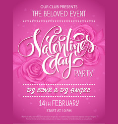 Valentines day party poster with lettering vector