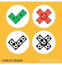 Check mark dollar piles flat icon vector