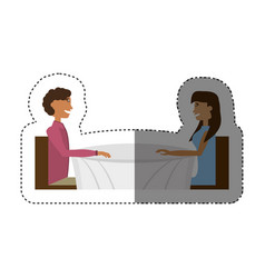 Couple dating romance design shadow vector