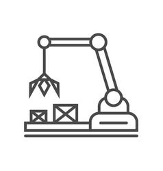 Heavy industry crane linear icon vector