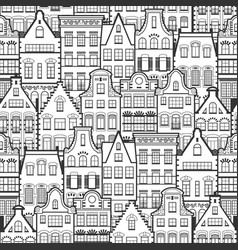 Seamless pattern of line style holland old houses vector