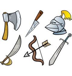 Old weapons objects cartoon set vector
