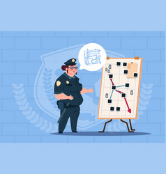 Police woman planning action on white board vector