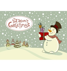 Snowman with gifts greeting card vector