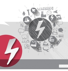 Hand drawn electricity icons with icons background vector