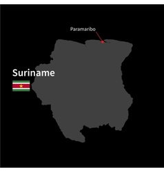 Detailed map of suriname and capital city vector