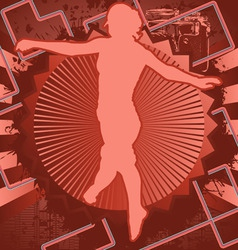 jumping woman vintage design vector image
