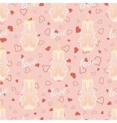 Pink wedding seamless pattern with candles vector