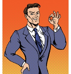 Successful man in pop art style gesturing okay vector