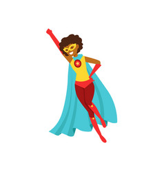 afro american woman character dressed as a super vector image
