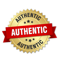 Authentic 3d gold badge with red ribbon vector