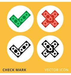 check mark dollar piles flat icon vector image