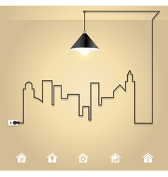 Cityscape with creative wire light bulb idea vector image vector image