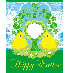 cute chickens and Easter tree frame vector image vector image