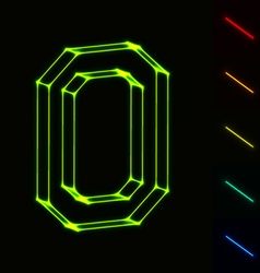 EPS10 glowing wireframe letter O - easy to change vector image vector image