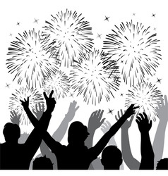 fireworks with silhouettes of happy people vector image vector image