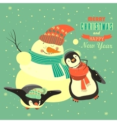 Funny penguins with snowman celebrating christmas vector