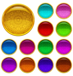 Golden buttons with patterned gems set vector