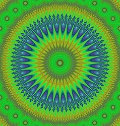 Green oriental mandala fractal design background vector