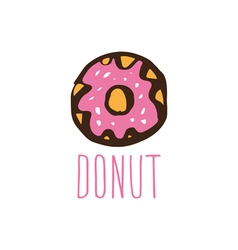 Hand drawn logo with donut vector