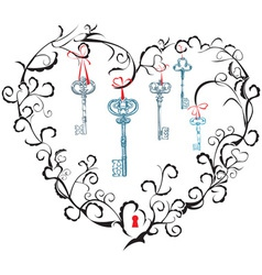 heart keyhole and keys vector image vector image