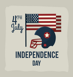 Independence day with american helmet and flag vector