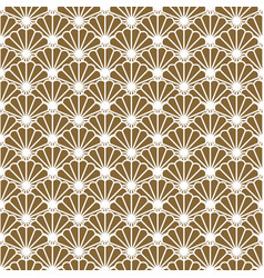 Japanese fan seamless pattern in gold line vector
