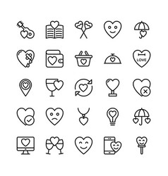 Love and valentine line icons 18 vector