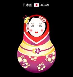 Matryoshka japan girl vector image vector image