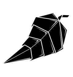 origami leaf icon simple black style vector image vector image