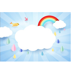 Paper art concept rainy and cloud with rainbow vector