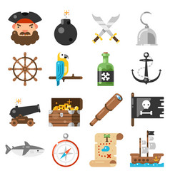 Pirates icons set on white background vector