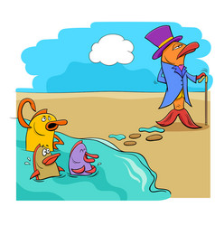 Saying fish out of water humor cartoon vector