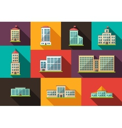 Set of flat design buildings icons vector image