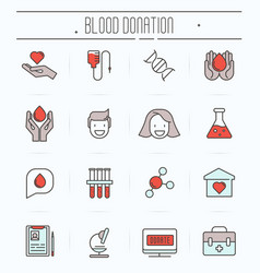 set of thin line icons of blood donation vector image