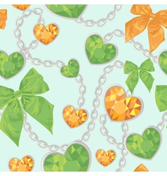 Shiny heart pendants hanging seamless pattern vector image