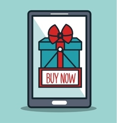 Smartphone cyber monday buy now gift vector
