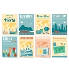 Travel and tourism brochure set template of vector