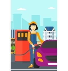 Woman filling up fuel into car vector