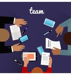 Workspace team design flat concept vector